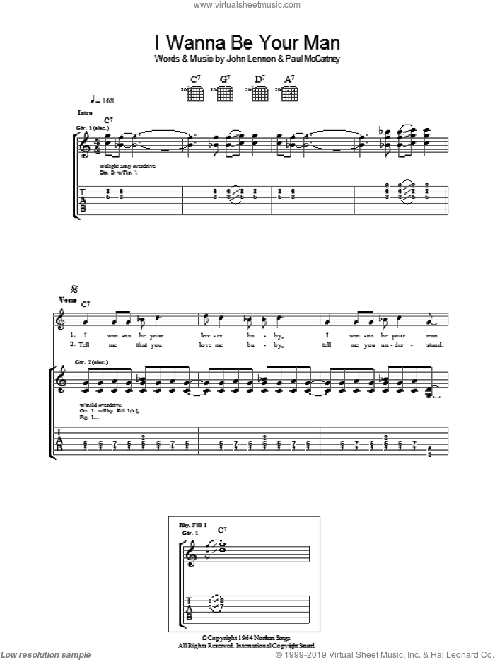 I Wanna Be Your Man sheet music for guitar (tablature) by Paul McCartney, The Beatles and John Lennon. Score Image Preview.