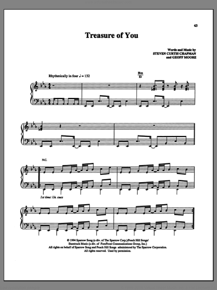 Treasure Of You sheet music for voice, piano or guitar by Steven Curtis Chapman and Geoff Moore, intermediate skill level