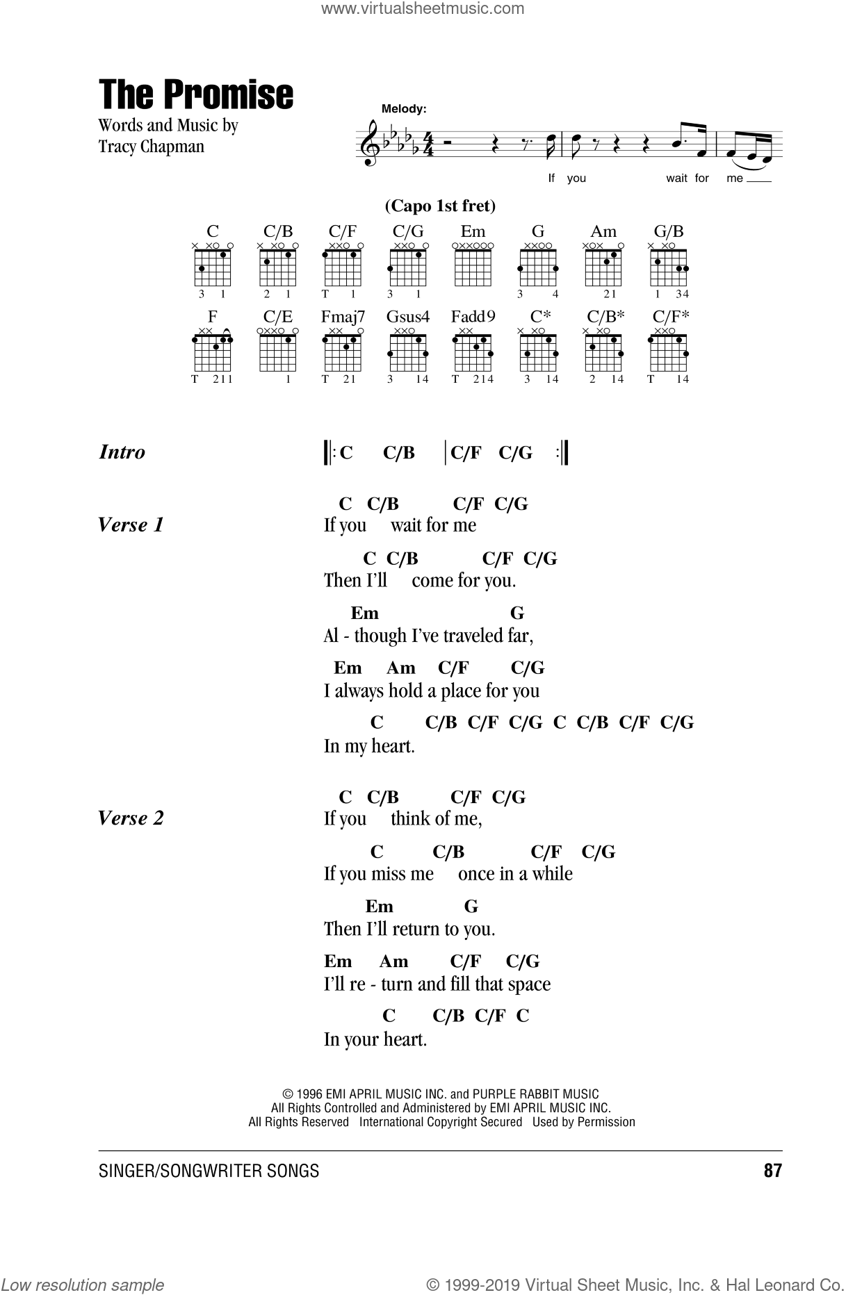The Promise sheet music for guitar (chords, lyrics, melody) by Tracy Chapman