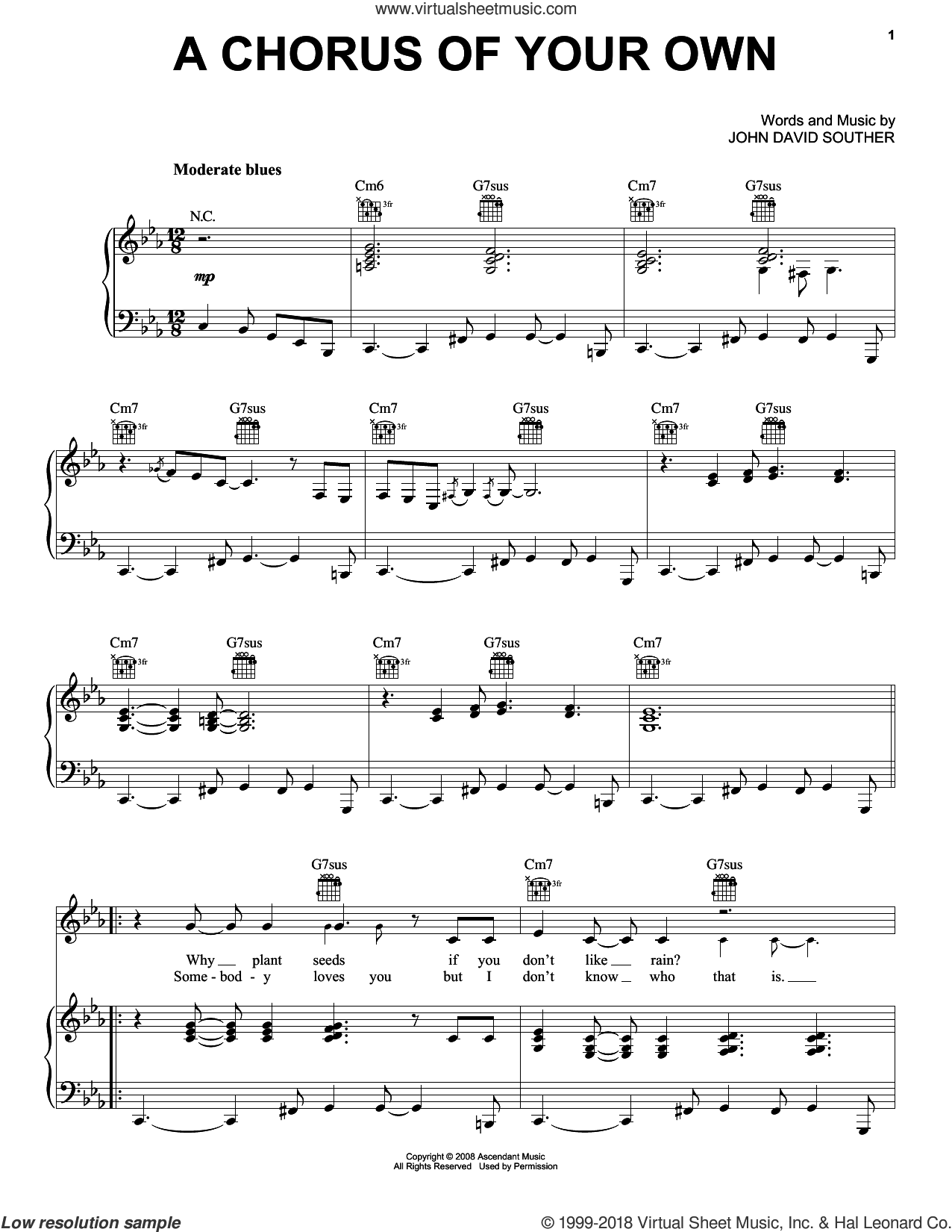 A Chorus Of Your Own sheet music for voice, piano or guitar by John David Souther. Score Image Preview.