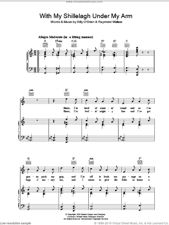 With My Shillelagh Under My Arm sheet music for voice, piano or guitar by Raymond Wallace and Miscellaneous, intermediate skill level