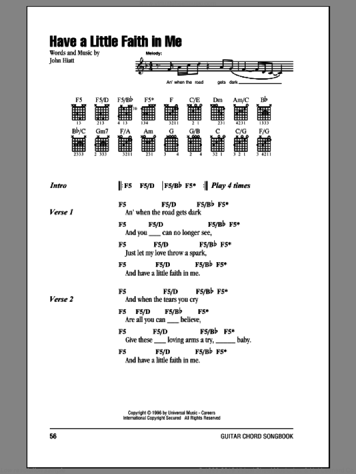 Cocker Have A Little Faith In Me Sheet Music For Guitar Chords
