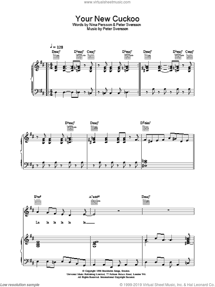 Your New Cuckoo sheet music for voice, piano or guitar by Peter Svensson