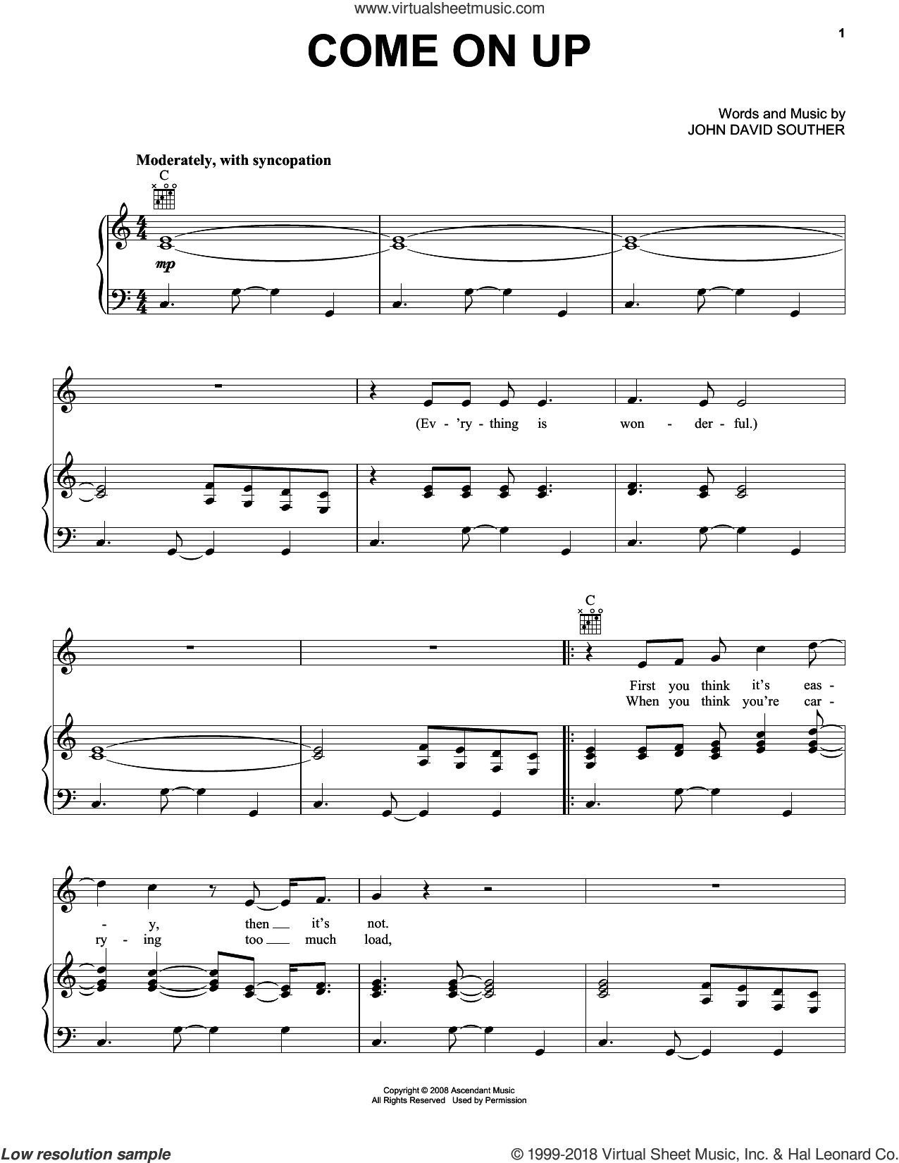 Come On Up sheet music for voice, piano or guitar by John David Souther, intermediate. Score Image Preview.