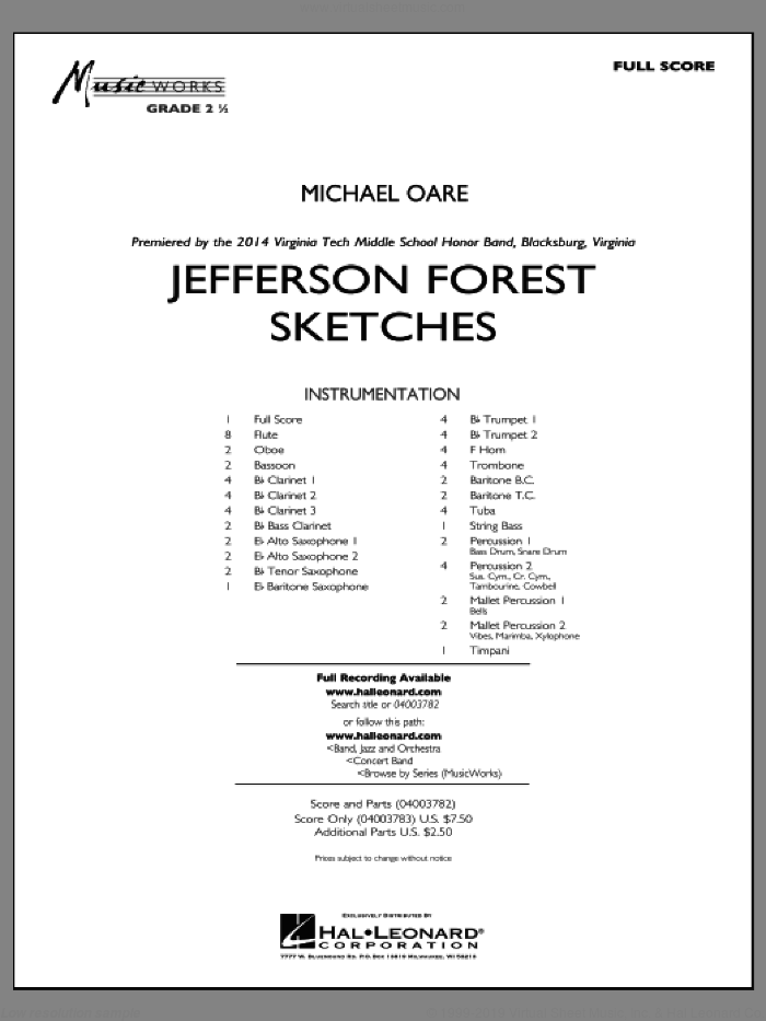 Jefferson Forest Sketches (COMPLETE) sheet music for concert band by Michael Oare, intermediate skill level