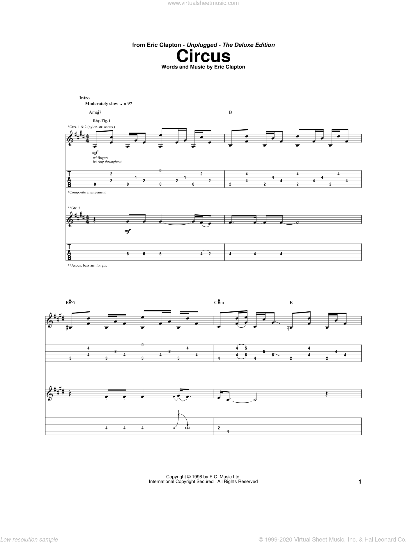 Circus sheet music for guitar (tablature) by Eric Clapton, intermediate guitar (tablature). Score Image Preview.