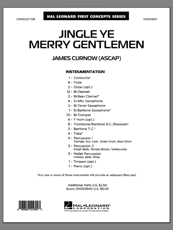 Jingle Ye Merry Gentlemen (COMPLETE) sheet music for concert band by James Curnow, intermediate