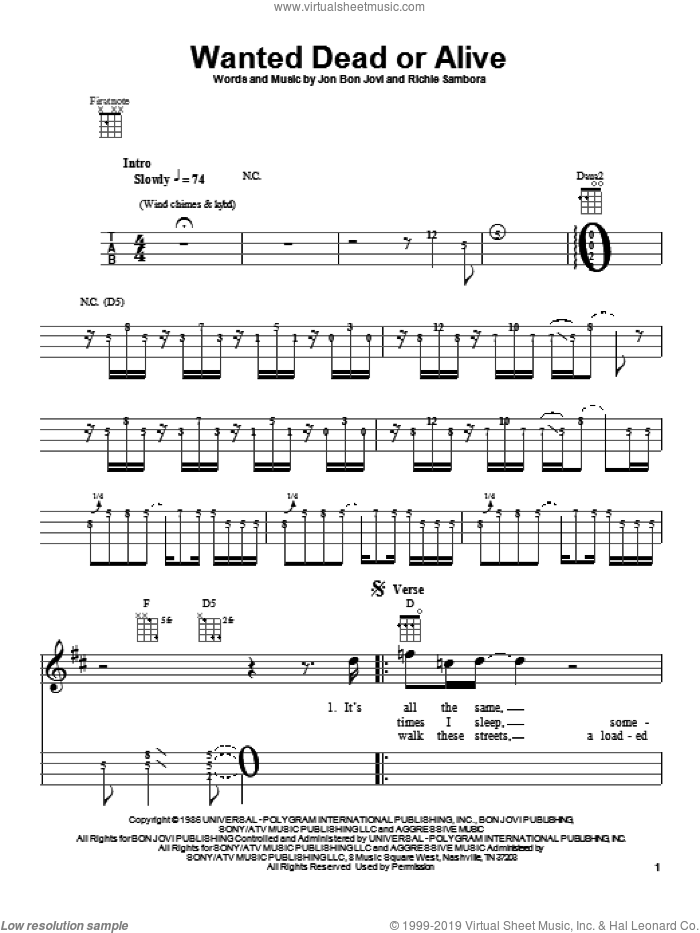 Wanted Dead Or Alive sheet music for ukulele by Bon Jovi, Chris Daughtry and Richie Sambora, intermediate