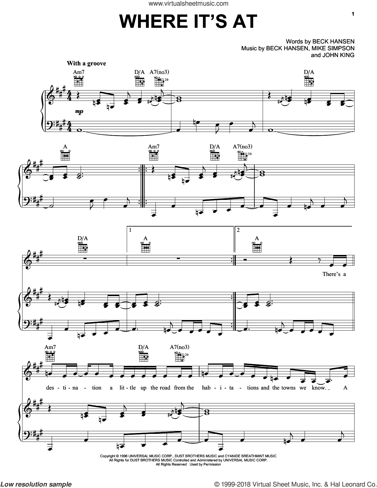 Where It's At sheet music for voice, piano or guitar by Beck Hansen, John King and Mike Simpson, intermediate skill level