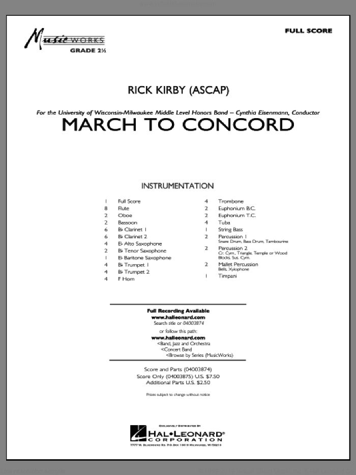 March to Concord (COMPLETE) sheet music for concert band by Rick Kirby, intermediate skill level