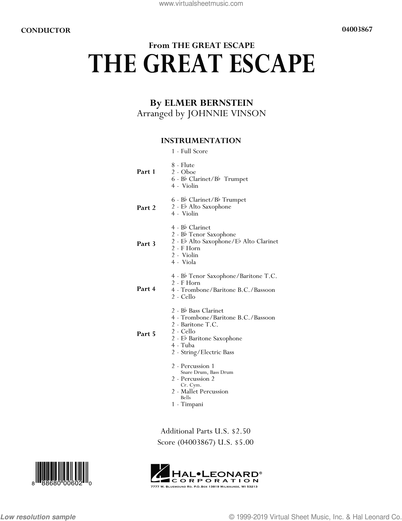 The Great Escape (March) sheet music for concert band (full score) by Elmer Bernstein