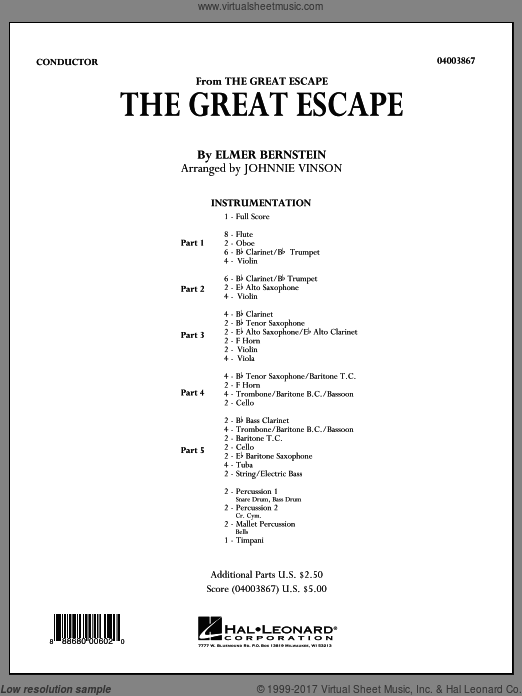 The Great Escape (March) (COMPLETE) sheet music for concert band by Elmer Bernstein