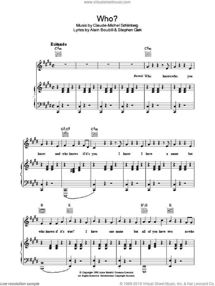 Who sheet music for voice, piano or guitar by Steve Clark, Alain Boublil and Claude-Michel Schonberg. Score Image Preview.