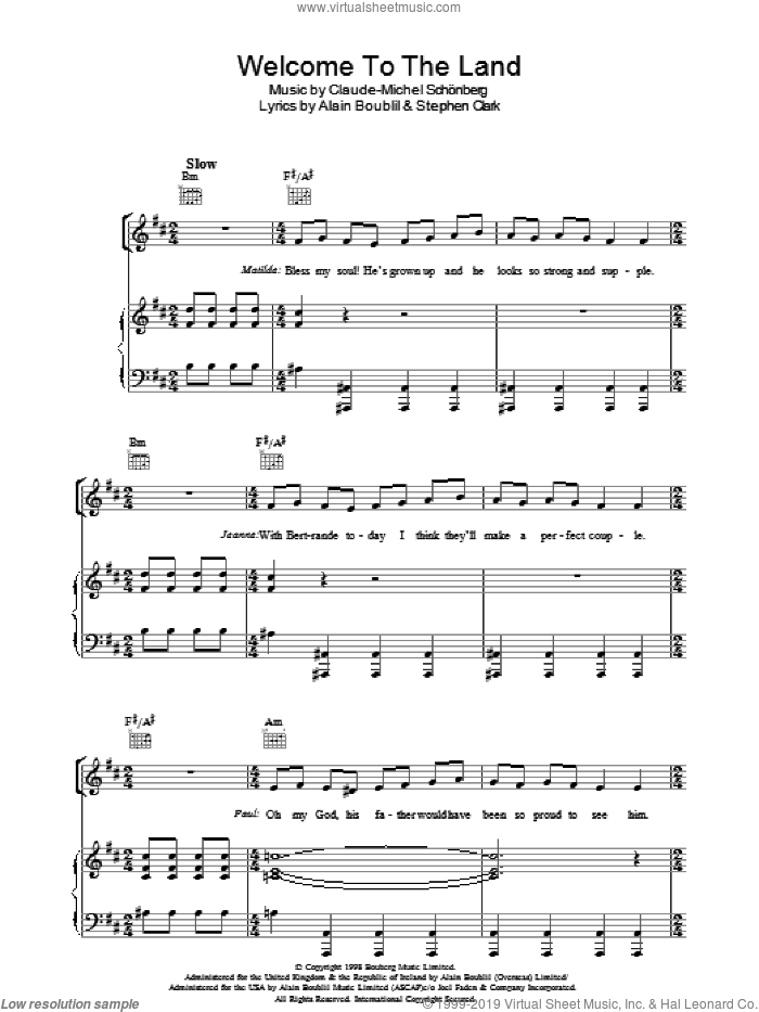 Welcome To The Land sheet music for voice, piano or guitar by Steve Clark, Alain Boublil and Claude-Michel Schonberg. Score Image Preview.