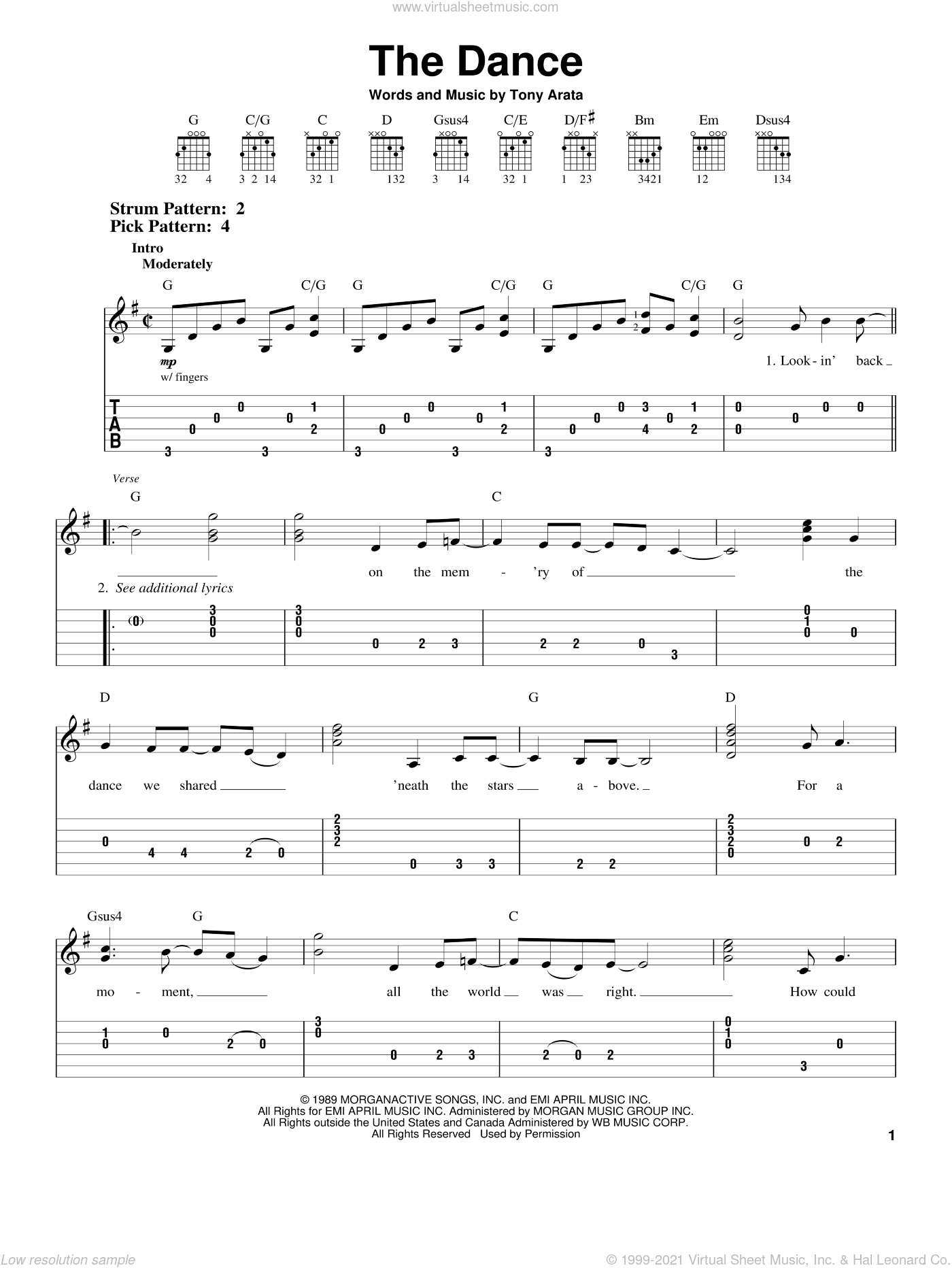 The Dance sheet music for guitar solo (easy tablature) by Garth Brooks and Tony Arata, easy guitar (easy tablature)