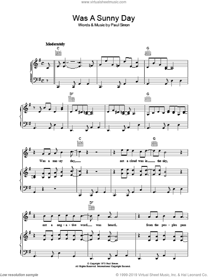 Was A Sunny Day sheet music for voice, piano or guitar by Paul Simon. Score Image Preview.