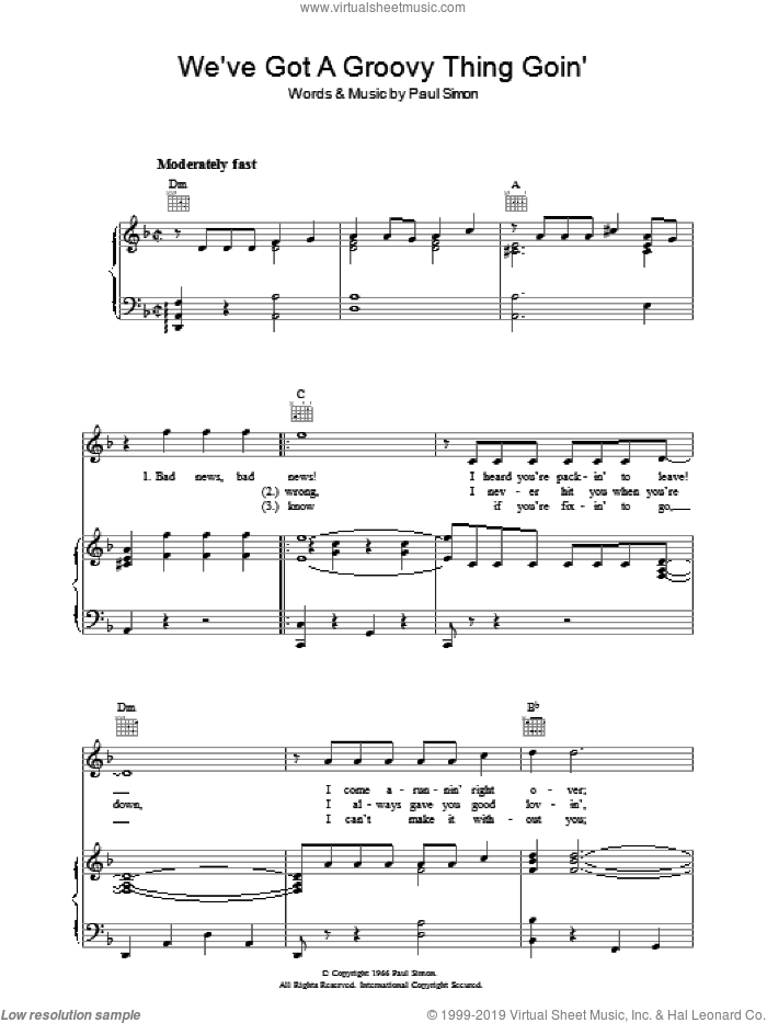 We've Got A Groovy Thing Goin' sheet music for voice, piano or guitar by Paul Simon and Simon & Garfunkel. Score Image Preview.