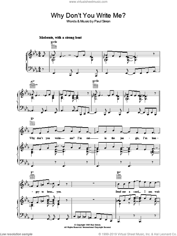 Why Don't You Write Me sheet music for voice, piano or guitar by Simon & Garfunkel and Paul Simon, intermediate voice, piano or guitar. Score Image Preview.