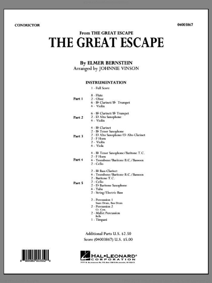 The Great Escape (March) (COMPLETE) sheet music for concert band by Johnnie Vinson, Al Stillman and Elmer Bernstein, intermediate. Score Image Preview.