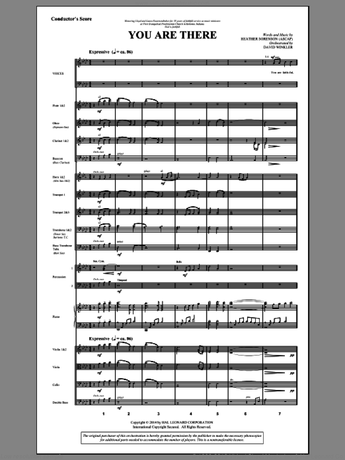 You Are There (COMPLETE) sheet music for orchestra/band by Heather Sorenson, intermediate. Score Image Preview.