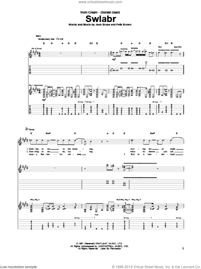 Swlabr sheet music for guitar (tablature) by Cream, Jack Bruce and Pete Brown, intermediate skill level