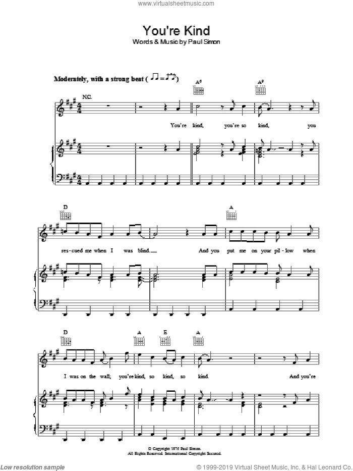 You're Kind sheet music for voice, piano or guitar by Paul Simon. Score Image Preview.