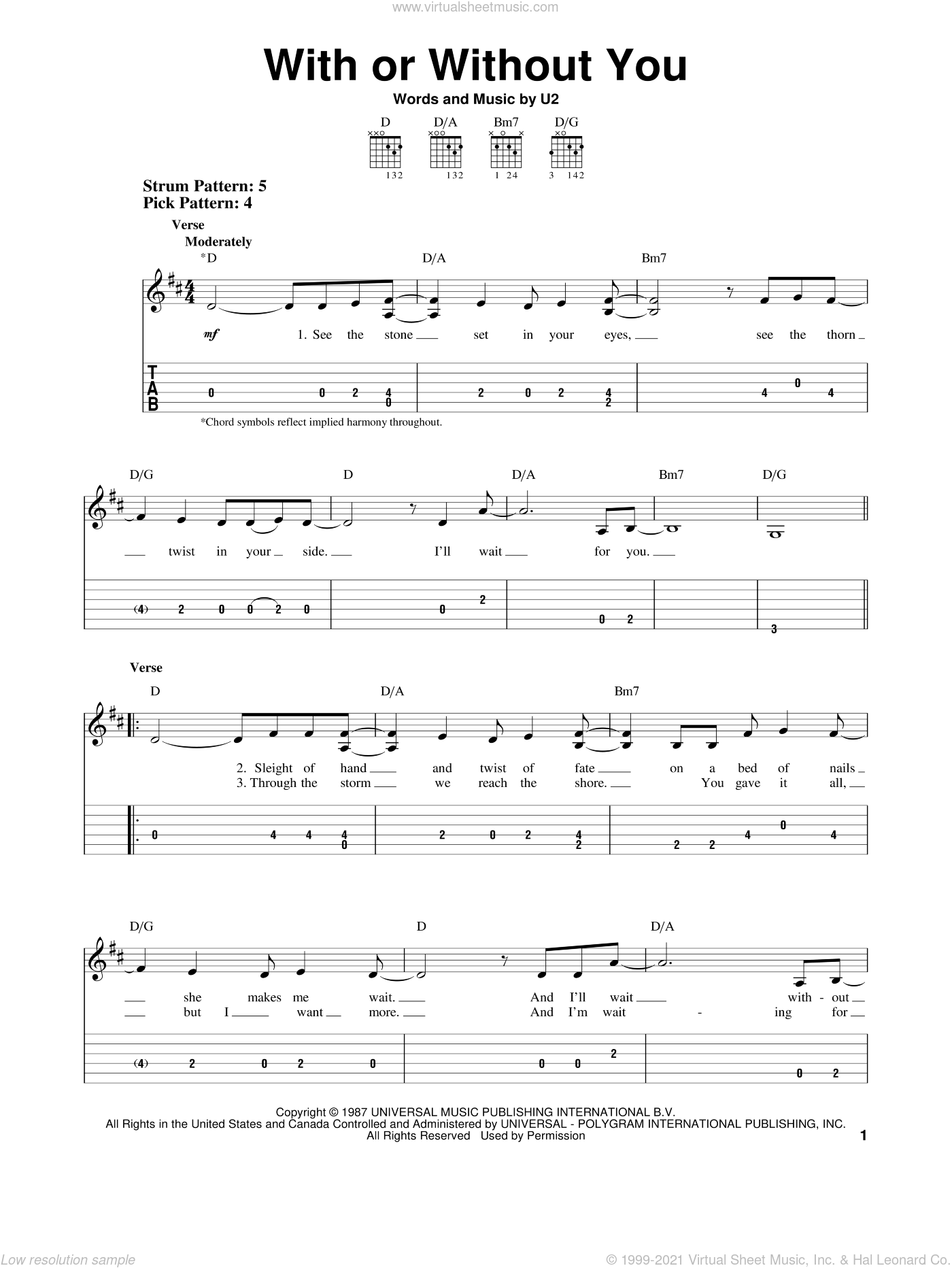 With Or Without You sheet music for guitar solo (easy tablature) by U2