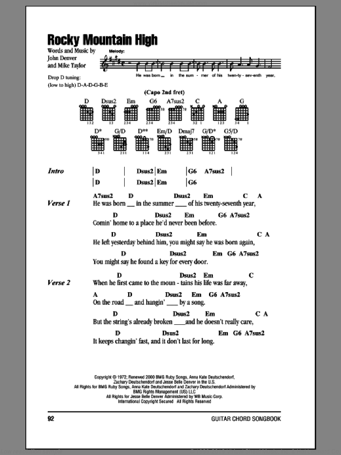 Denver Rocky Mountain High Sheet Music For Guitar Chords