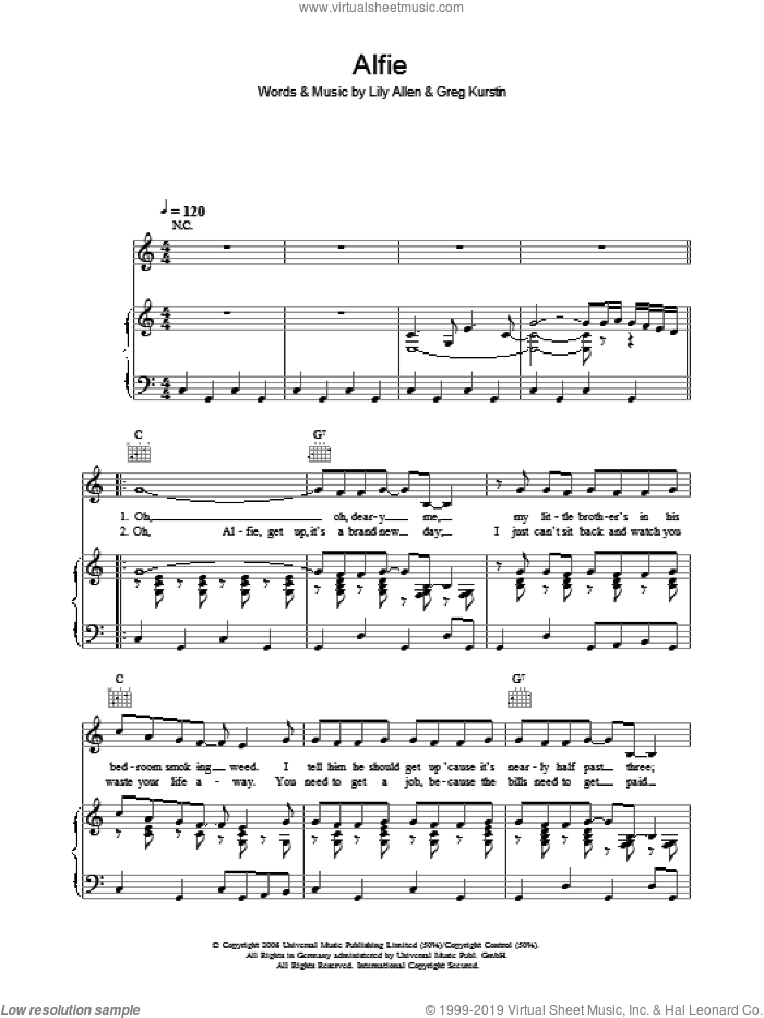 Alfie sheet music for voice, piano or guitar by Greg Kurstin and Lily Allen. Score Image Preview.