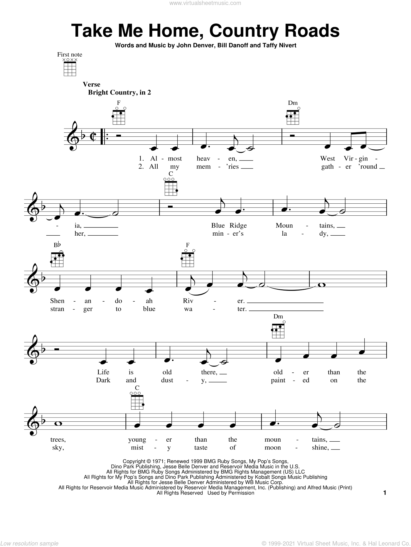 Take Me Home, Country Roads sheet music for ukulele by John Denver, Bill Danoff and Taffy Nivert, intermediate skill level