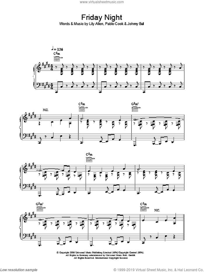 Friday Night sheet music for voice, piano or guitar by Lily Allen, Johnny Bull and Pablo Cook, intermediate skill level