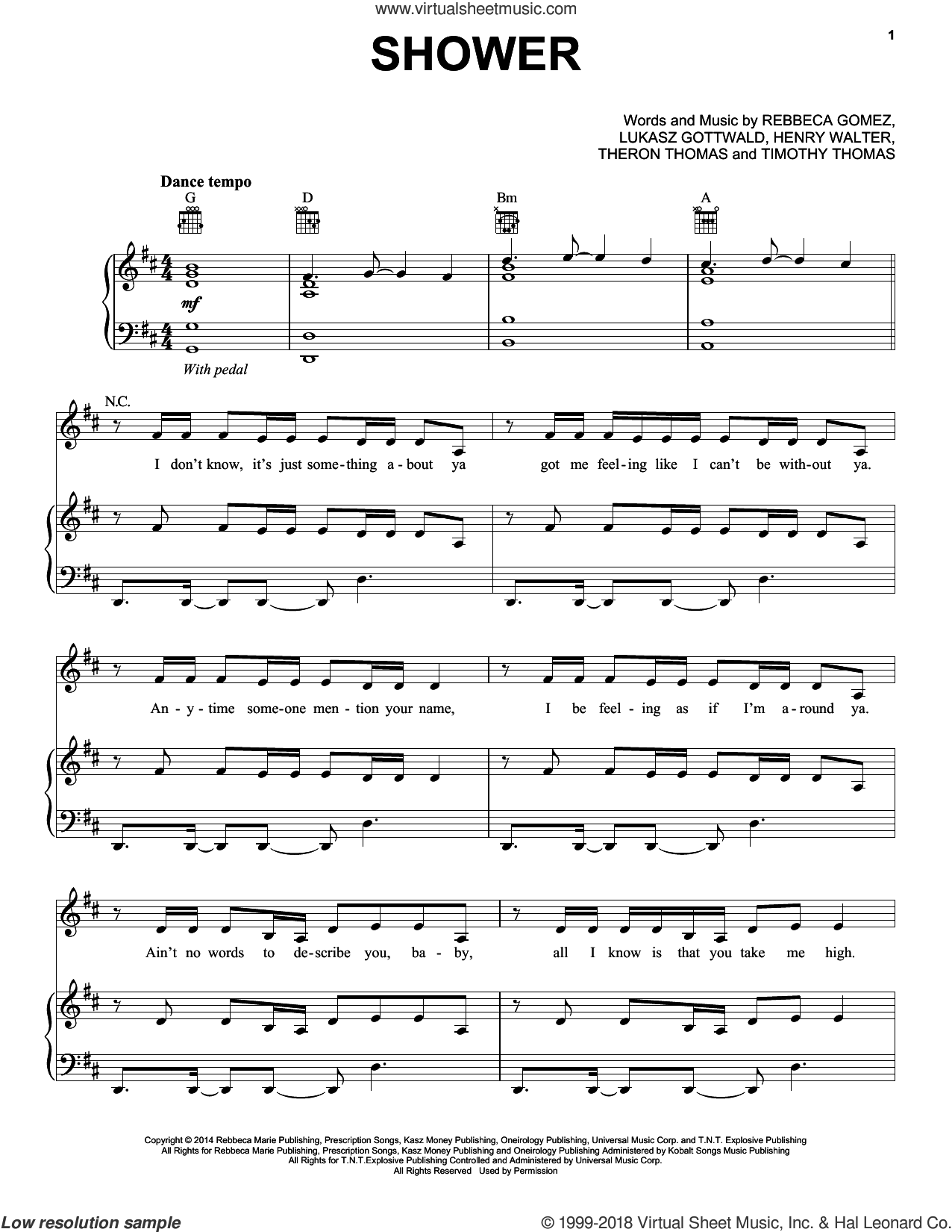 Shower sheet music for voice, piano or guitar by Becky G, Henry Walter, Lukasz Gottwald, Rebbeca Gomez, Theron Thomas and Timmy Thomas, intermediate. Score Image Preview.