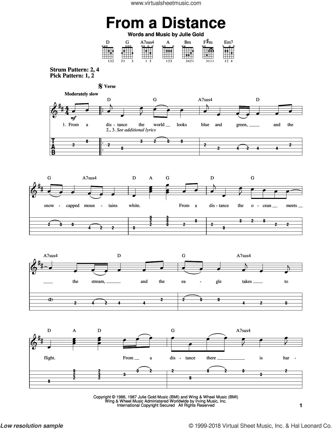 From A Distance sheet music for guitar solo (easy tablature) by Julie Gold and Bette Midler. Score Image Preview.