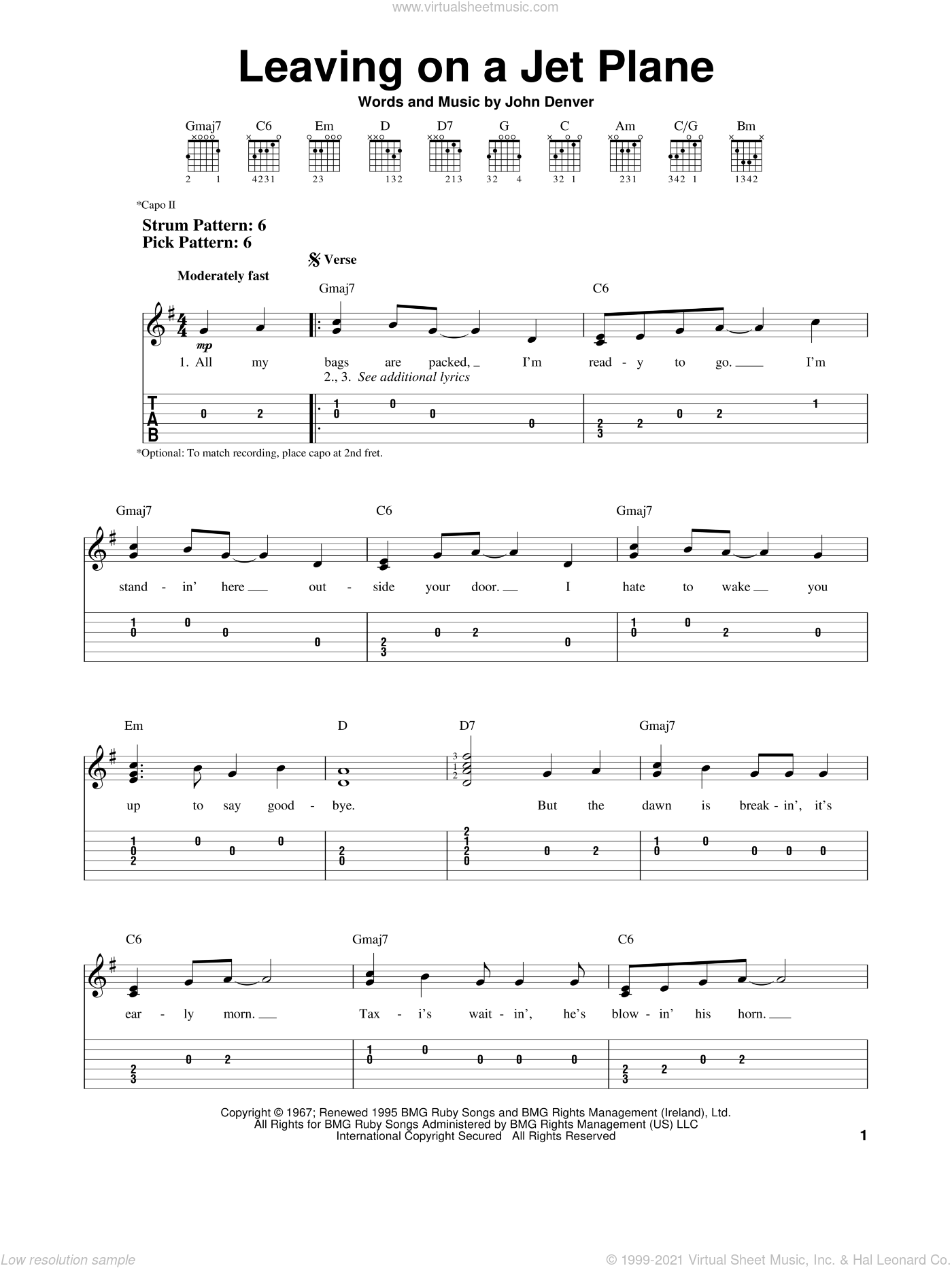 Leaving On A Jet Plane sheet music for guitar solo (easy tablature) by John Denver and Peter, Paul & Mary, easy guitar (easy tablature)