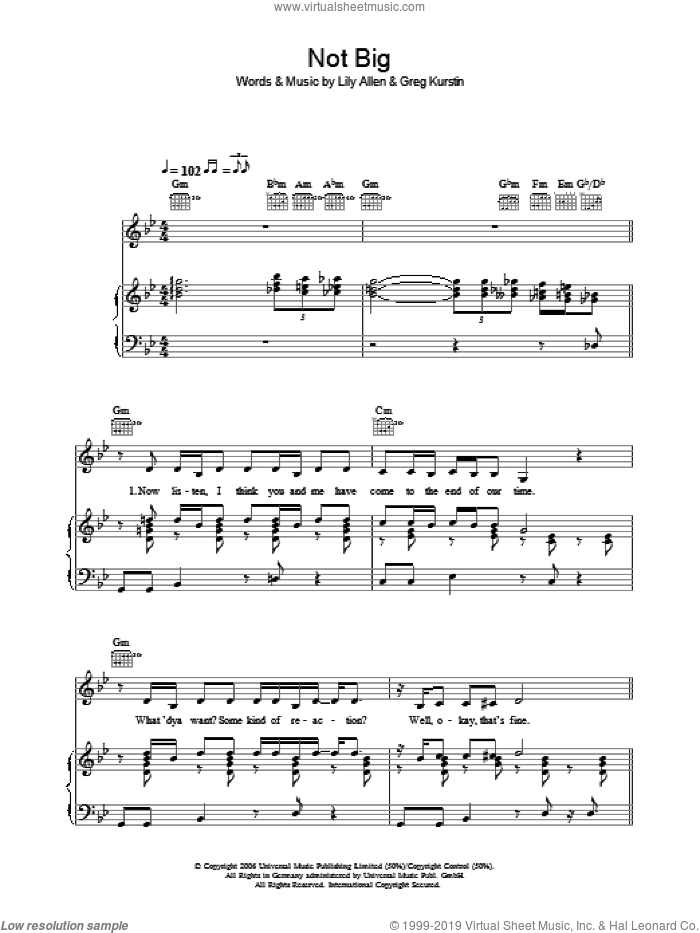 Not Big sheet music for voice, piano or guitar by Lily Allen and Greg Kurstin, intermediate skill level