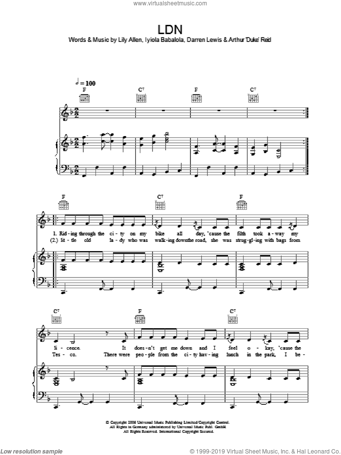 LDN sheet music for voice, piano or guitar by Lily Allen. Score Image Preview.