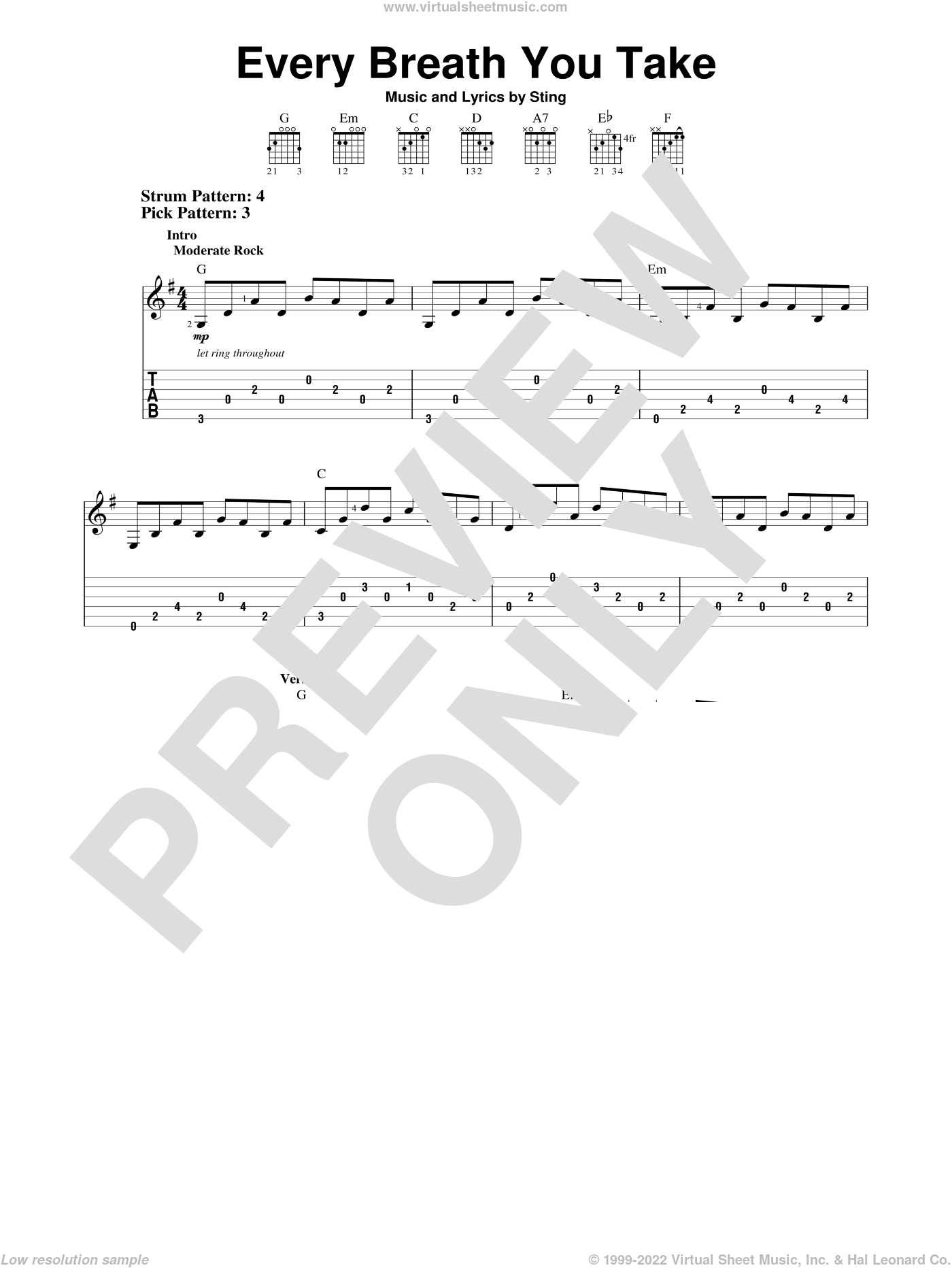 Every Breath You Take sheet music for guitar solo (easy tablature) by The Police and Sting, easy guitar (easy tablature)