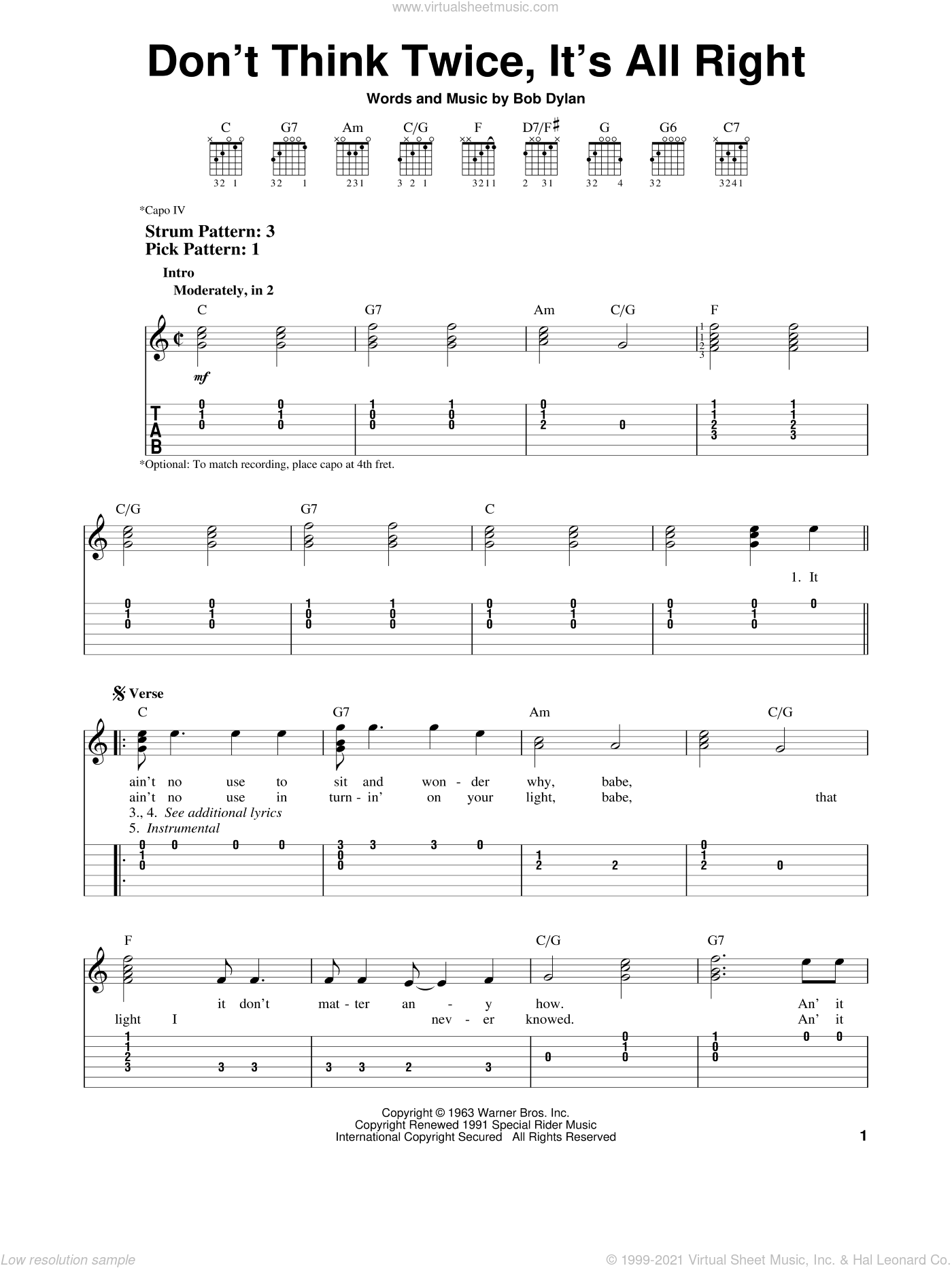 Don't Think Twice, It's All Right sheet music for guitar solo (easy tablature) by Bob Dylan and Peter, Paul & Mary, easy guitar (easy tablature)