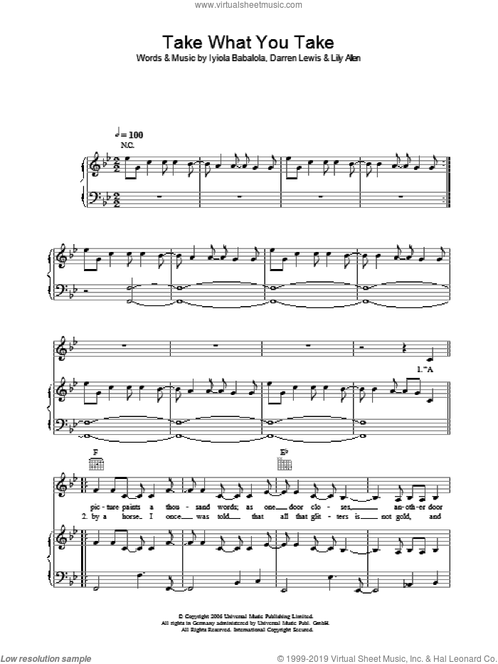 Take What You Take sheet music for voice, piano or guitar by Iyiola Babalola, Lily Allen and Darren Lewis