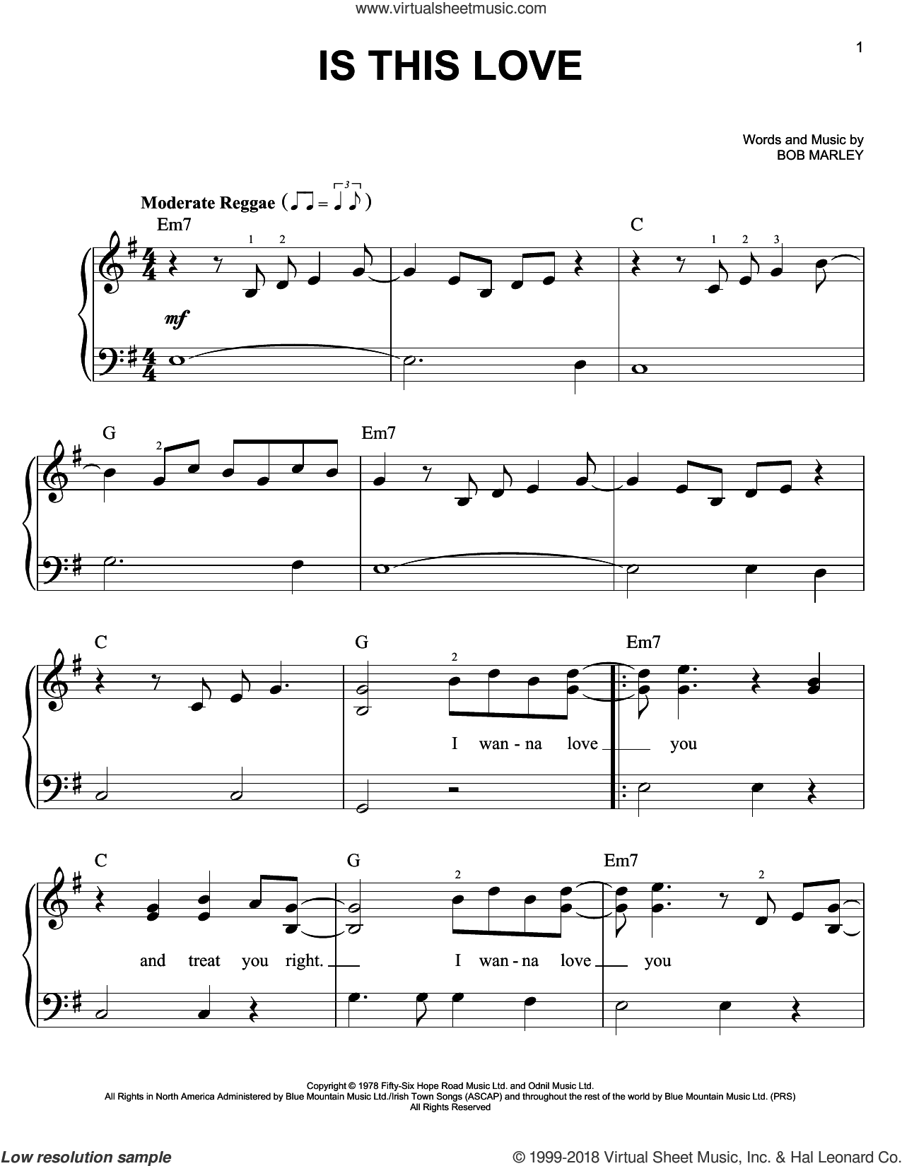 Is This Love sheet music for piano solo by Bob Marley, easy skill level