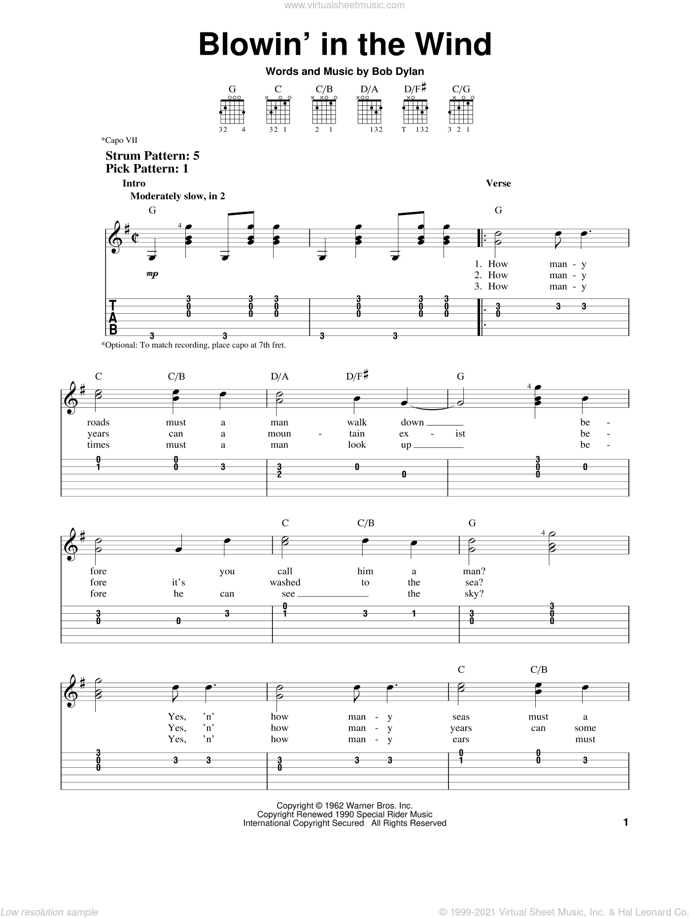 Blowin' In The Wind sheet music for guitar solo (easy tablature) by Bob Dylan, Peter, Paul & Mary and Stevie Wonder, easy guitar (easy tablature)