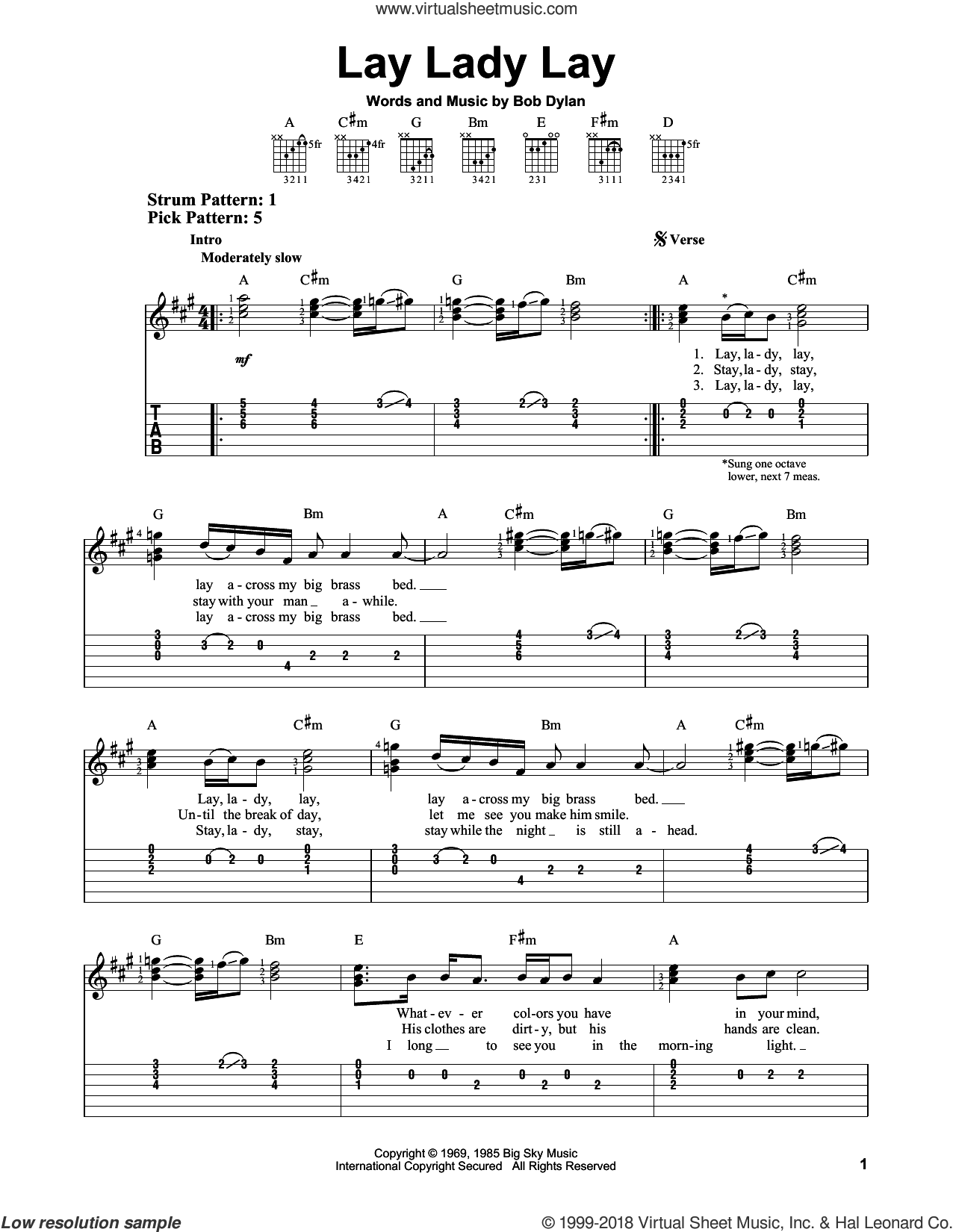 Lay Lady Lay sheet music for guitar solo (easy tablature) by Bob Dylan, easy guitar (easy tablature). Score Image Preview.