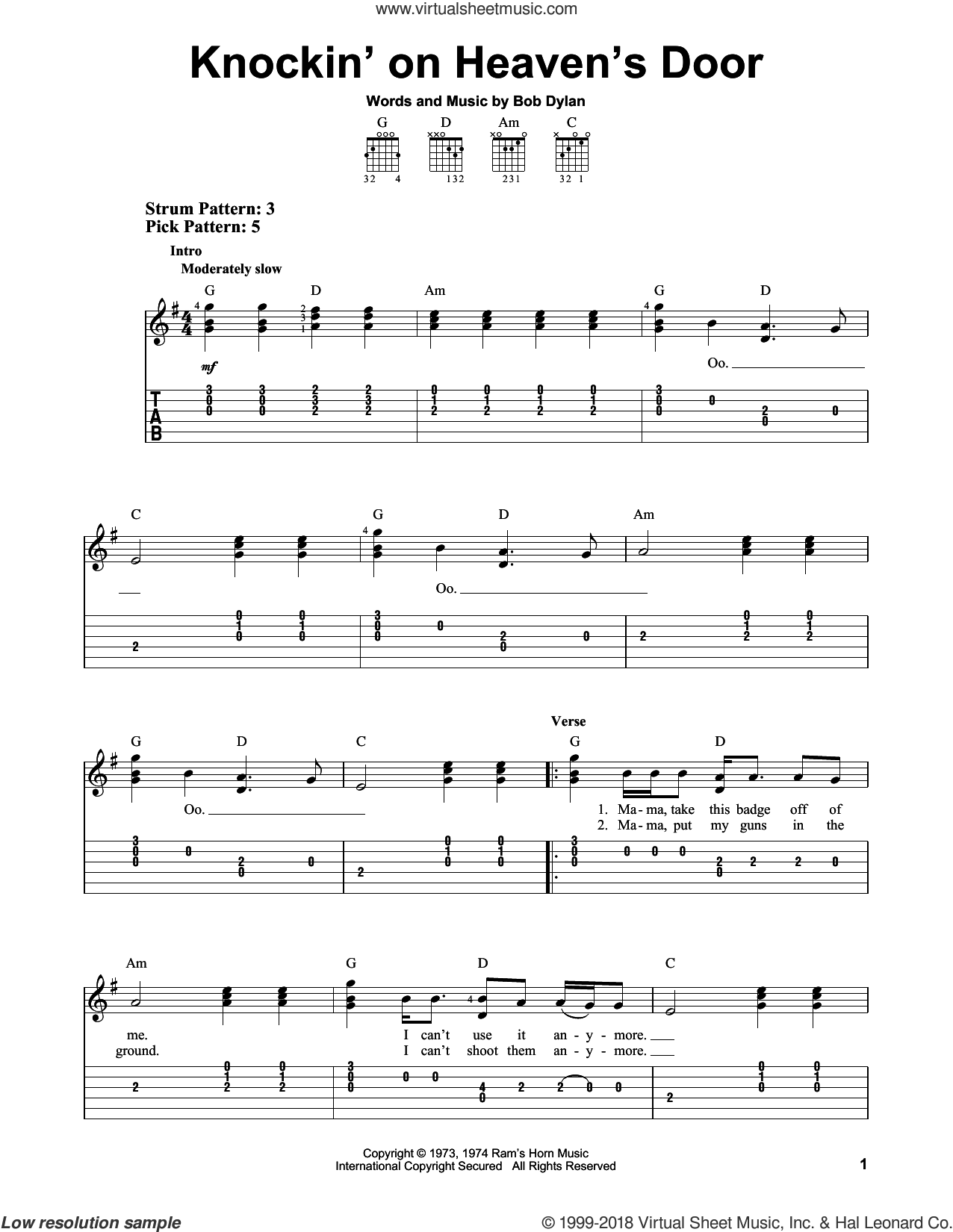 Knockin' On Heaven's Door sheet music for guitar solo (easy tablature) by Bob Dylan and Eric Clapton, easy guitar (easy tablature)