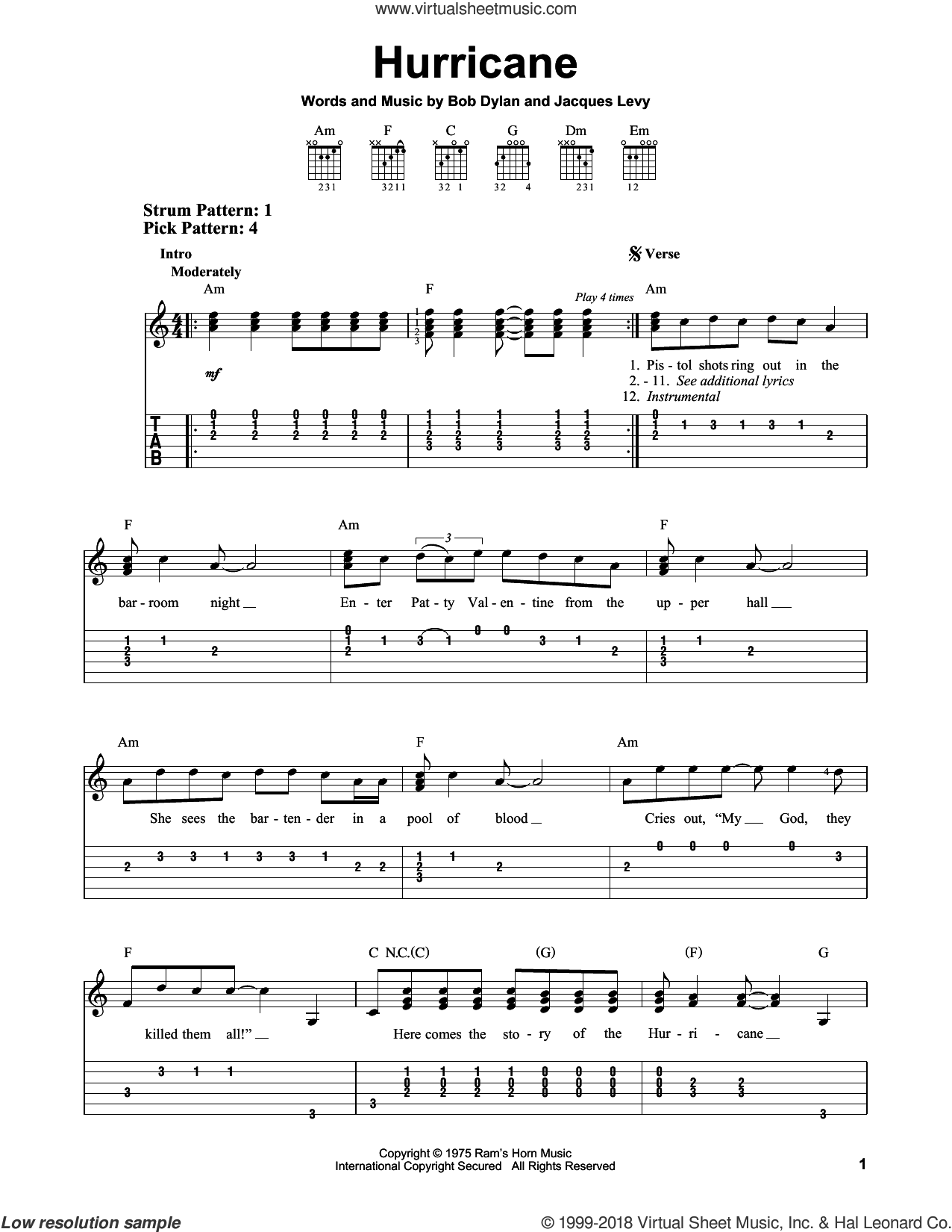 Hurricane sheet music for guitar solo (easy tablature) by Bob Dylan and Jacques Levy, easy guitar (easy tablature)