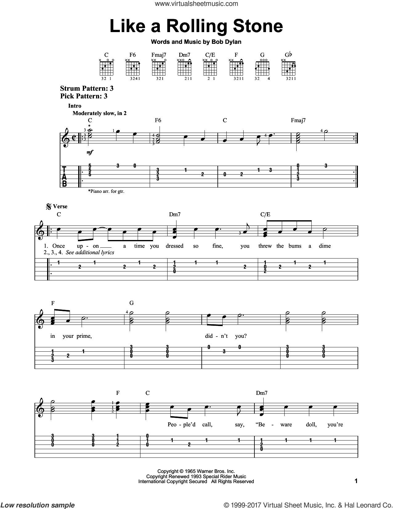 dylan like a rolling stone sheet music for guitar solo easy tablature. Black Bedroom Furniture Sets. Home Design Ideas