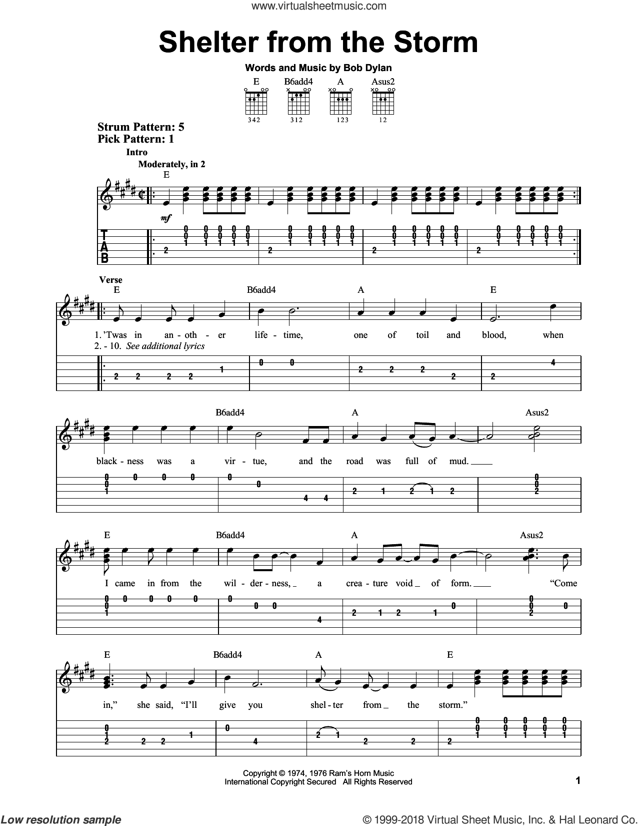 Shelter From The Storm sheet music for guitar solo (easy tablature) by Bob Dylan, easy guitar (easy tablature)