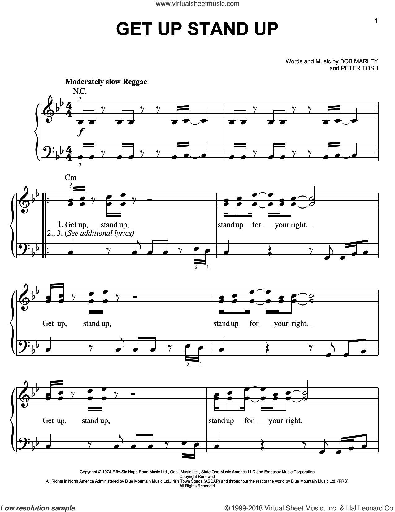 Get Up Stand Up sheet music for piano solo by Bob Marley and Peter Tosh, easy skill level