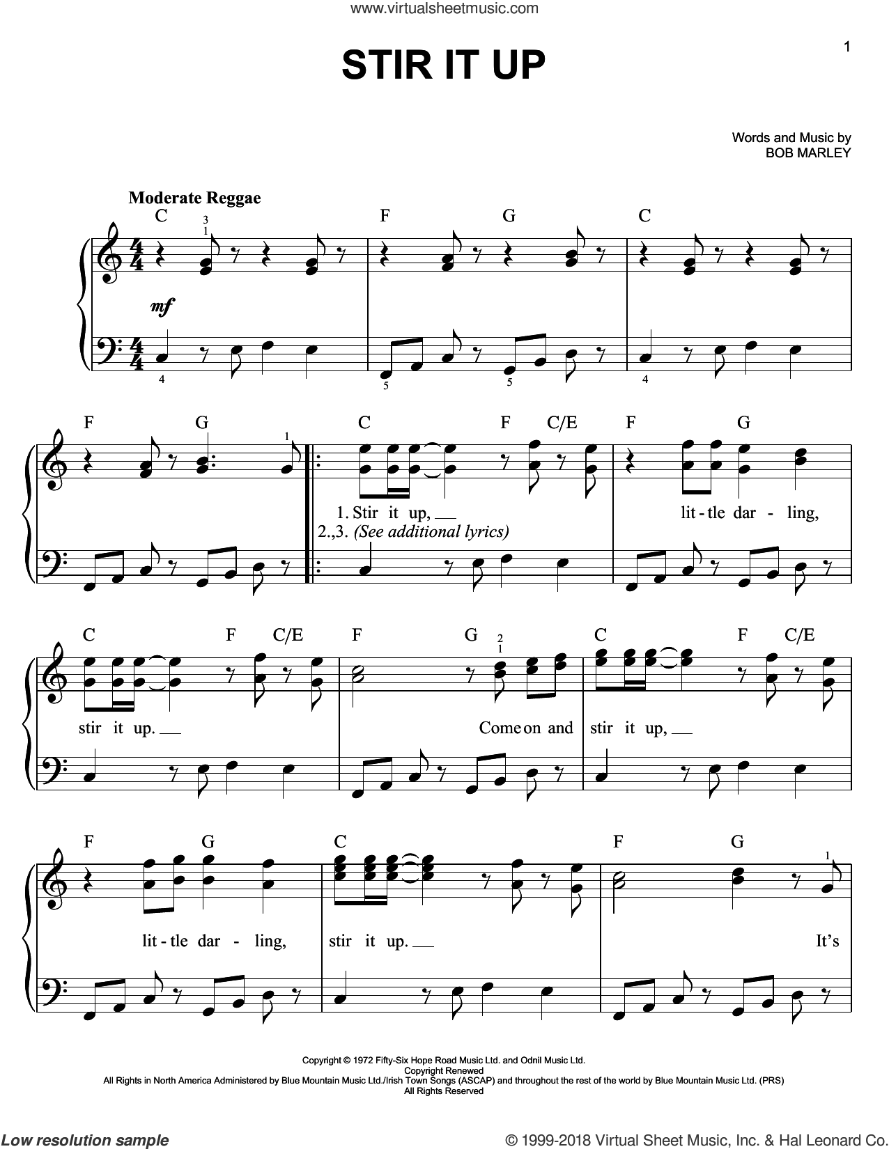 Stir It Up sheet music for piano solo by Bob Marley, easy skill level