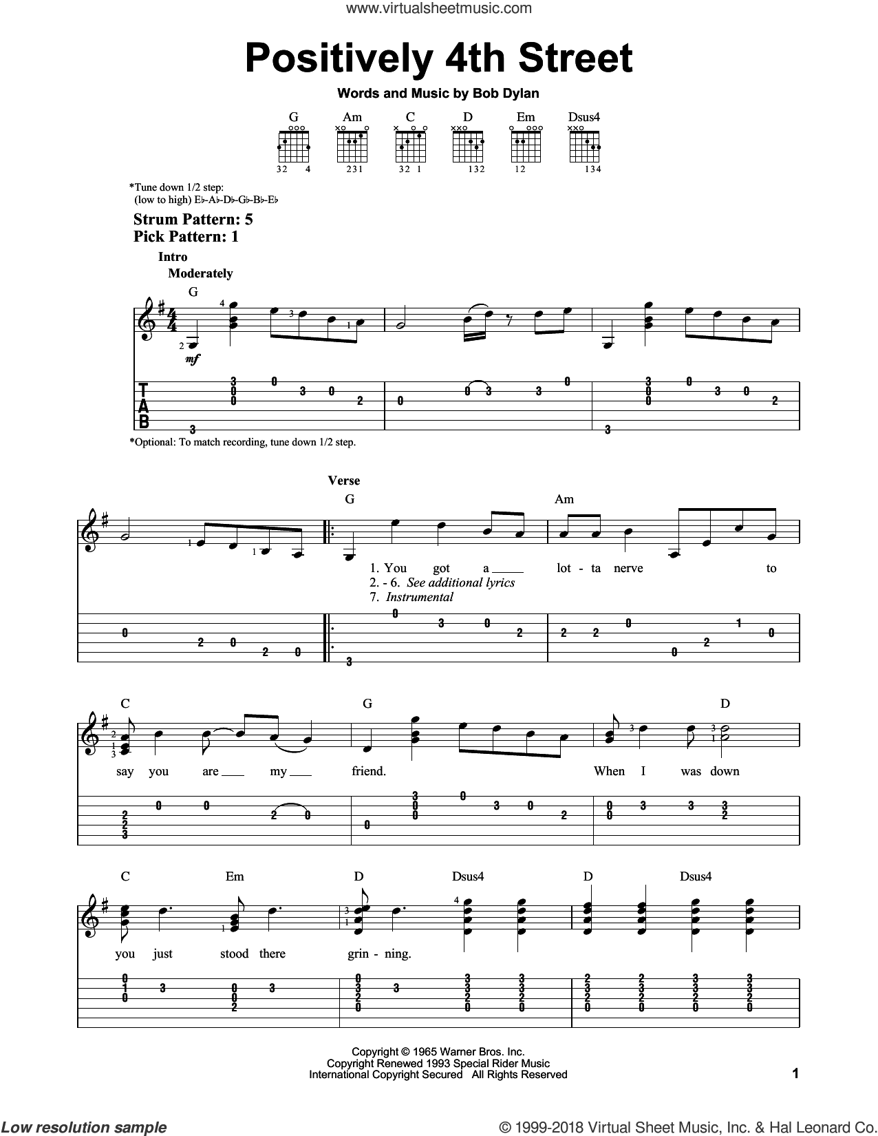 Positively 4th Street sheet music for guitar solo (easy tablature) by Bob Dylan. Score Image Preview.