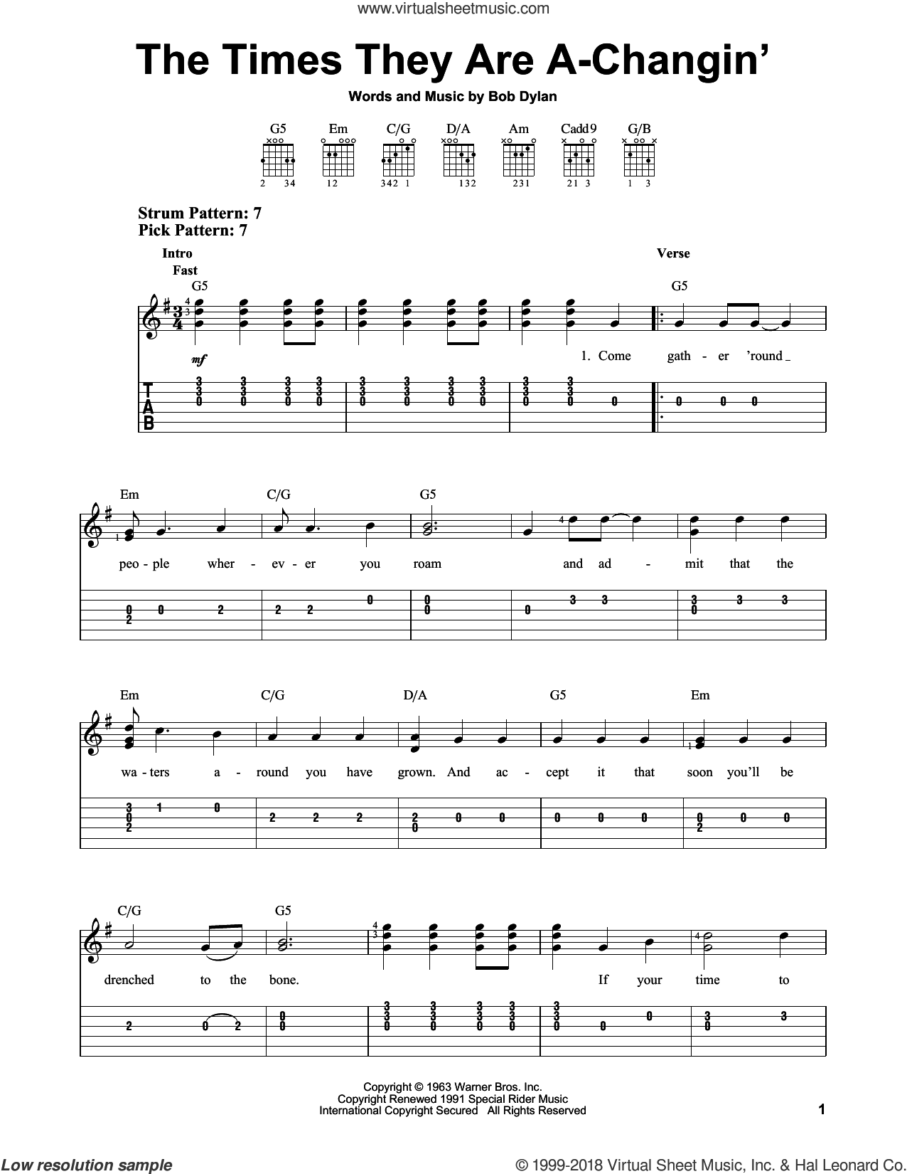 The Times They Are A-Changin' sheet music for guitar solo (easy tablature) by Bob Dylan and Peter, Paul & Mary, easy guitar (easy tablature). Score Image Preview.